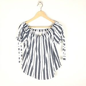 Off the shoulder tie sleeve striped top